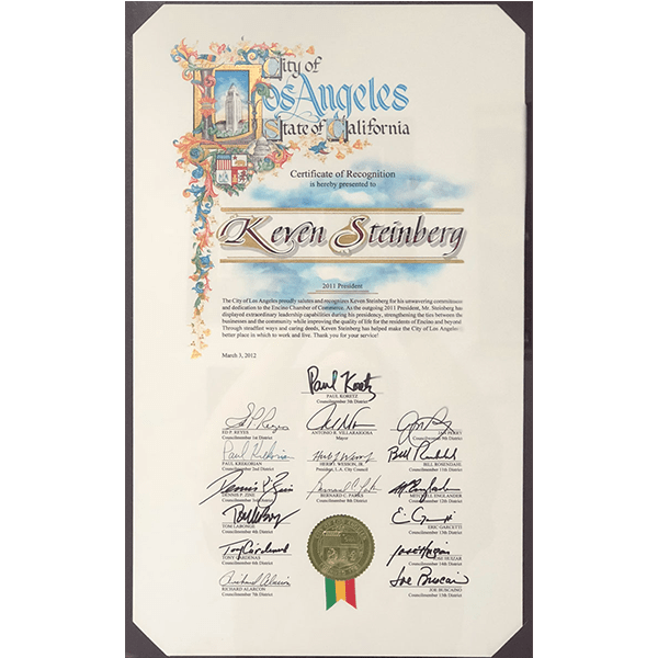 city of la certificate of recognition