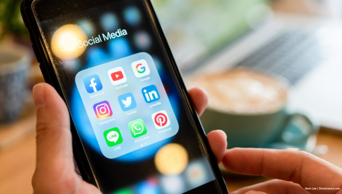 Smart phone with social media icons displayed